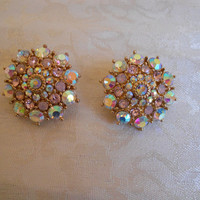 Gorgeous Pink Aurora Borealis Crystal Clip Earrings