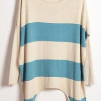 Asymmetric Round Neck Striped Blue Sweater  S004359