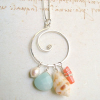 Beachy Swirl Necklace, Sterling Silver Koru Pendant With Amazonite and Beach Treasures
