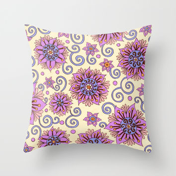 Passion Flowers Throw Pillow by PeriwinklePeacoat