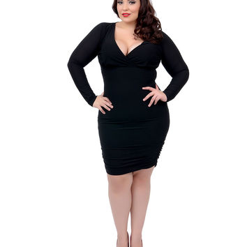 Plus Size Black Long Sleeve Gauge Fitted Stretch Wiggle Dress