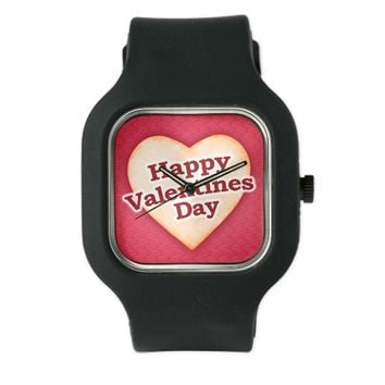 Heart Shaped Happy Valentine Day Text Design Watch
