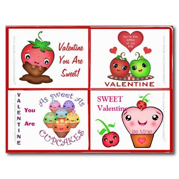Valentine's Day Cute Food Valentines Cards