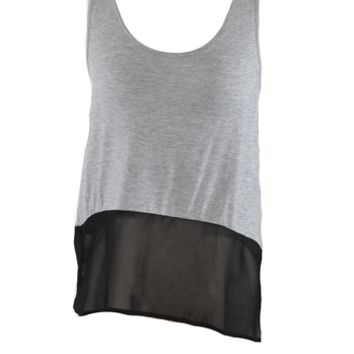 Two Tone Top - Grey
