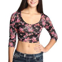 vintage floral print crop top - debshops.com