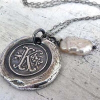 Initial Monogram Wax Seal Silver Necklace. Stick Pearl Charm. Fine Silver Any Letter. Wax Seal Stamped Jewelry