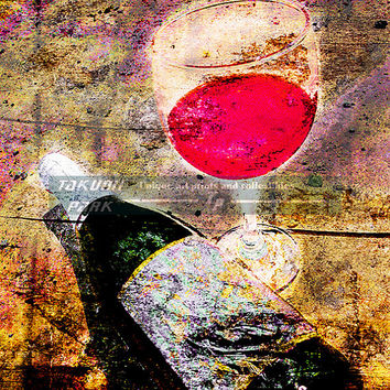 Wine Glass And Bottle Art Print, Wine Decor, Gift For Wine Lovers, Bar Decor, Modern Art, Wine Art Decor, Colorful Art, Dining Room Decor