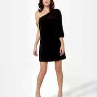 Cute One Shoulder Dress - Little Black Dress - Shift Dress - $35.00