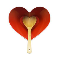 Heart Bowl and Bamboo Ladle