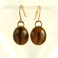 Amber Gold Toned Earrings
