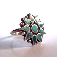 Vintage Boho 1970's Sterling Silver and Genuine Turquoise Bohemian Sun Ring (Size 6.5)