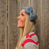 Dusty Blue Bow Headband with Natural Vegan Coconut Shell Buttons - Adjustable