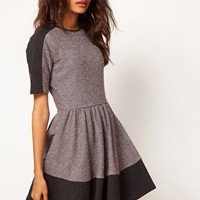 ASOS Sweat Skater Dress In Colourblock at asos.com