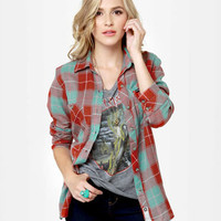 Hurley Wilson Top - Flannel Top - Plaid Top - Button-Up Top - $45.00