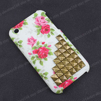 Studded hard Flower Rose iPhone 3G/3GS case with bronze studs