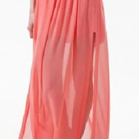 Pink Pleated Chiffon Split Side Long Sheer Skirt - Sheinside.com