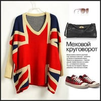 FREE SHIPPING NWT SP63 Ladies Classic Bat Sleeves British Flag Sweaters Jumpers