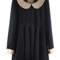 Navy Contrast Peter Pan Collar Long Sleeve Flare Short Dress - Sheinside.com