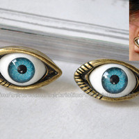 1 Pair Retro Bronze Blue Eye Stud Earrings 24mmX7mm Great Quality Hot