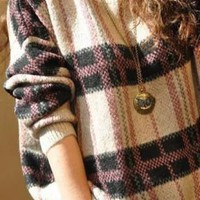 Purple Round Neck Long Sleeve Plaid Pullovers Sweater - Sheinside.com