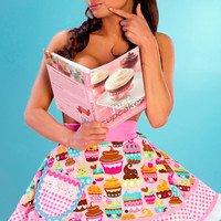 Lets Bake Cupcakes Apron in Sexy Pink Made to Order by dotsdiner