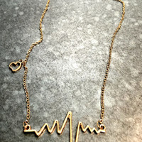 Heart Rate Necklace - Gold Tone