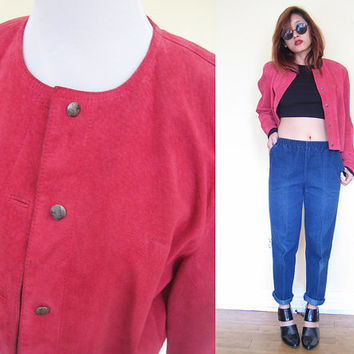Vintage 80's red suede rouge cropped jacket
