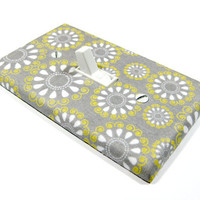 Gray Yellow and White Teardrop Flowers Switchplate Cottage Shabby Chic Home Decor Light Switch Plate Cover 933