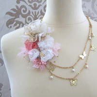 PAPILLON White Pink  Gold Bouquet Lace Feather Fabric Bib Necklace OOAK