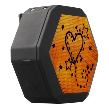 Orange Heart Doodle Bluetooth Speaker
