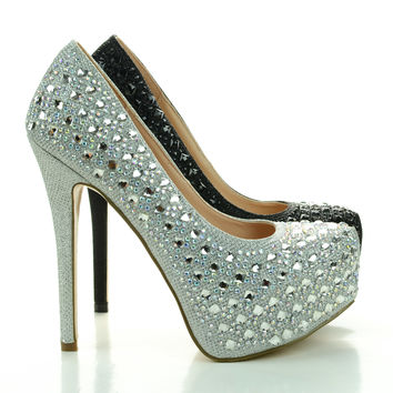 Kinko43 Rhinestone Encrusted Shimmering Close Toe Party Dress Pump