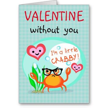 Custom Valentine's Day Hipster Crab Greeting Card