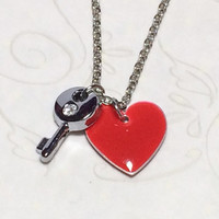 Valentine's Day Red Necklace Key To My Heart Gift Love Anniversary Womens Necklace