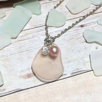 Sea Glass Necklace - Seaglass Jewelry - Bridesmaid Gift - Champagne - Rhinestone Necklace - Pendant Necklace - Friendship Gif - Holiday Gif