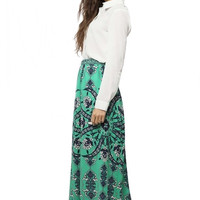 Spring to Come Scarf Print Maxi Skirt - Mint Green