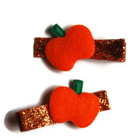 Pumpkin Orange Glitter Mini Clippies Set of 2 Hairclips on Lined Alligator Clips