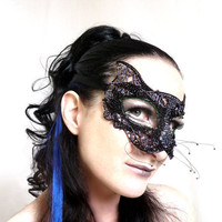 Black cat  mask, halloween,masquerade,  ladies,  handmade