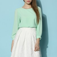 In Love with Mint Chiffon Top