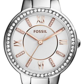 Women's Fossil 'Virginia' Crystal Accent Bracelet Watch, 30mm - Silver/ White