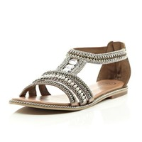 River Island Womens Pink bead and gem sandals