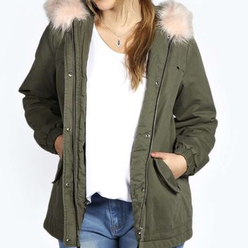 Demi Parka With Pink Faux Fur On Hood