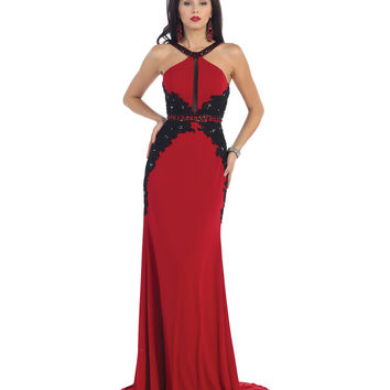 Red & Black Lace Open Back Halter Gown Prom 2015