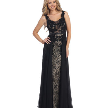 Black & Nude Lace See Through Chiffon Gown Prom 2015