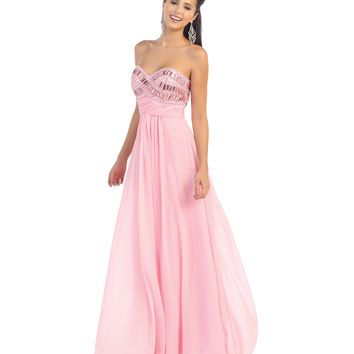 Pink Jeweled Bodice Strapless Gown Prom 2015