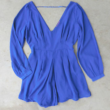 By the Bay Romper in Royal [6679] - $42.00 : Vintage Inspired Clothing & Affordable Dresses, deloom | Modern. Vintage. Crafted.