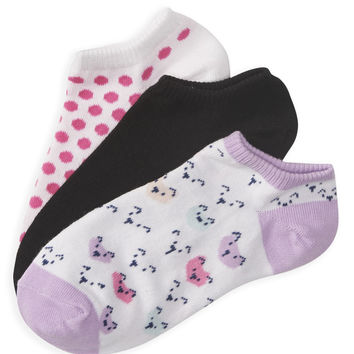 Aeropostale  3-Pack Critter, Dot and Solid Ped Socks