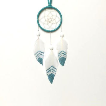 Dream Catcher - Modern - Blue and White - Hand Painted Feathers