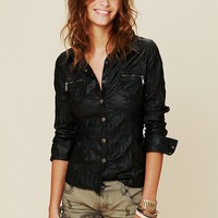 Free People Vegan Leather Buttondown