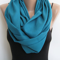 Infinity scarf, teal pashmina circle scarf, fall loop scarf, shawl, snood