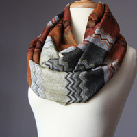 Infinity scarf 40 % silk  zigzag multicolor Missoni style in rust brown black golden